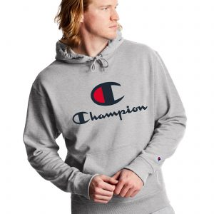 Powerblend Fleece Casual Champion Logo Gray Hoodie (Front)