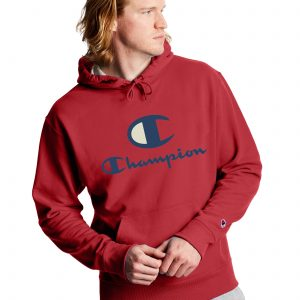 Powerblend Fleece Casual Champion Logo Red Hoodie (Front)
