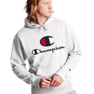 Powerblend Fleece Casual Champion Logo White Hoodie (Front)