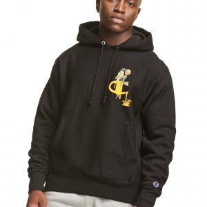 Reverse Weave Honey Nut Cheerios Black Hoodie (Front)
