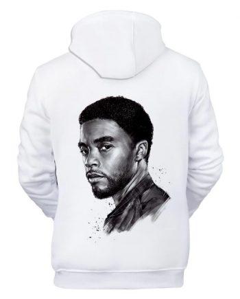 Black Panther Chadwick Boseman Printed White Hoodie (Back)