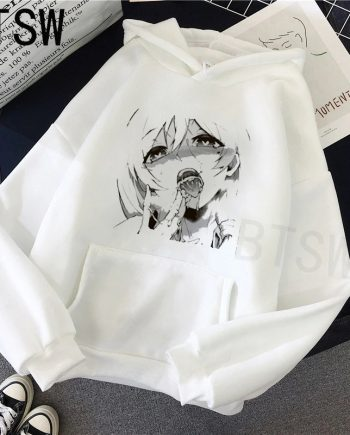 Sexy Face Ahegao White Casual Hoodie