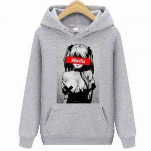 Waifu Casual Pullover Clothing Gray Ahegao Hoodie