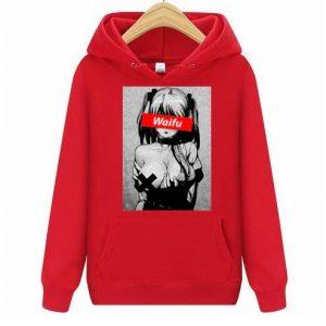 Waifu Casual Pullover Clothing Red Ahegao Hoodie