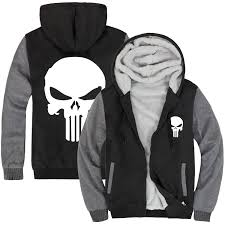 Wholesale men full zipper sherpa lined thick sweatshirt new design skull printed winter sports hoodies