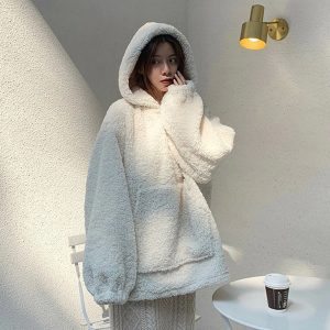 White Lambswool Hoodie for Women