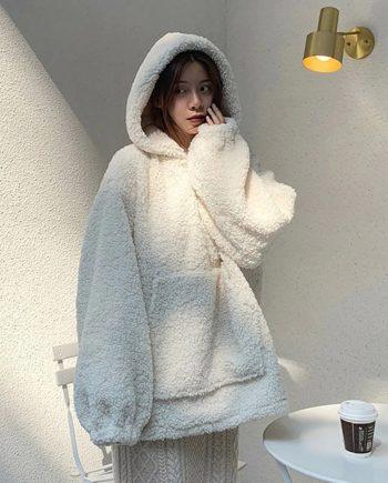 White Lambs Wool Oversized Sherpa Hoodie for Women