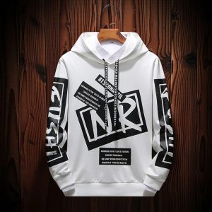 White Patch Work Fashion Hoodie for Men