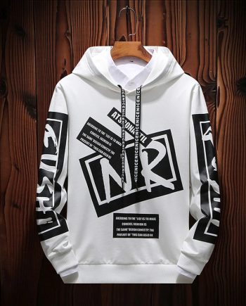 Personalized Black Text Printed White Cotton Pullover Hoodie