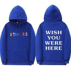 Astroworld Cactus Graffiti Wish You Were Here Blue Hoodie
