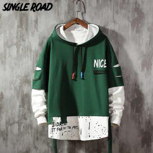 Single Road Graffiti Green Hoodie for Men(front)