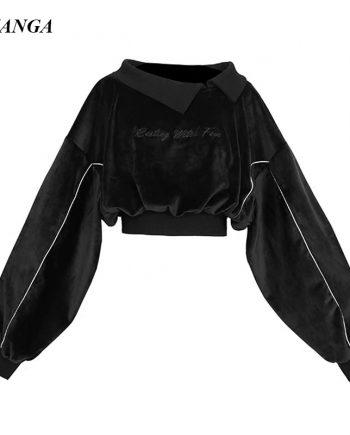 Black Top Crop Velvet Hoodie for Women