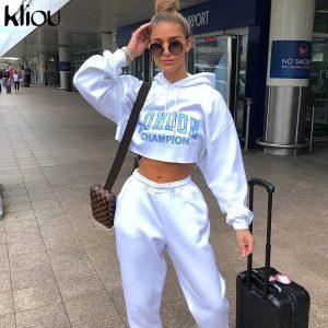 White Top Crop Fashion Hoodie for Women