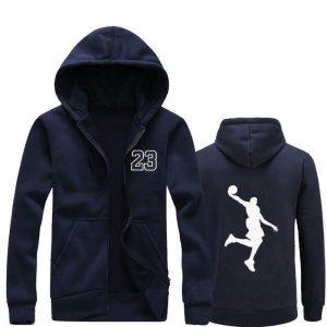 New Fleece Hip Hop Basketball Blue Hoodie