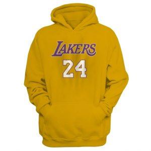 Kobe Bryant 24 Lakers Sweatshirt Pullover Yellow Hoodie