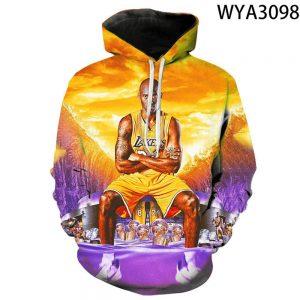 Kobe Bryant 3d Printed Hoodie in yellow 24 lakers