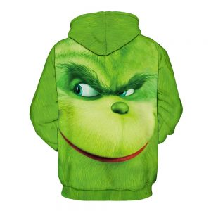 Green Hoodie Digital Print Sulley Grinch for Men(front)