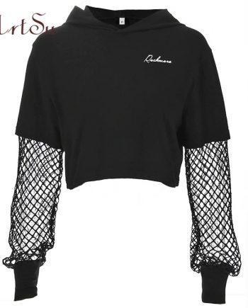 Black ArtSu Long Sleeve Cropped Hoodie