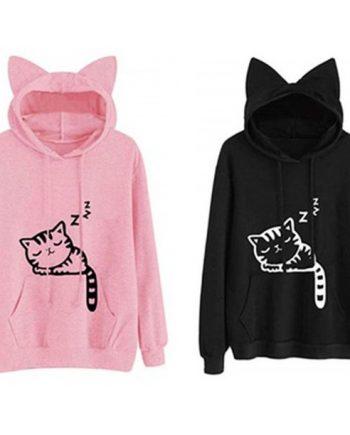 Lovely Cat Ear Hoodies Women Fashion