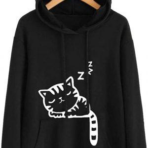 OULII Cute Cat Ear Hoodies Sleeping Cat Print