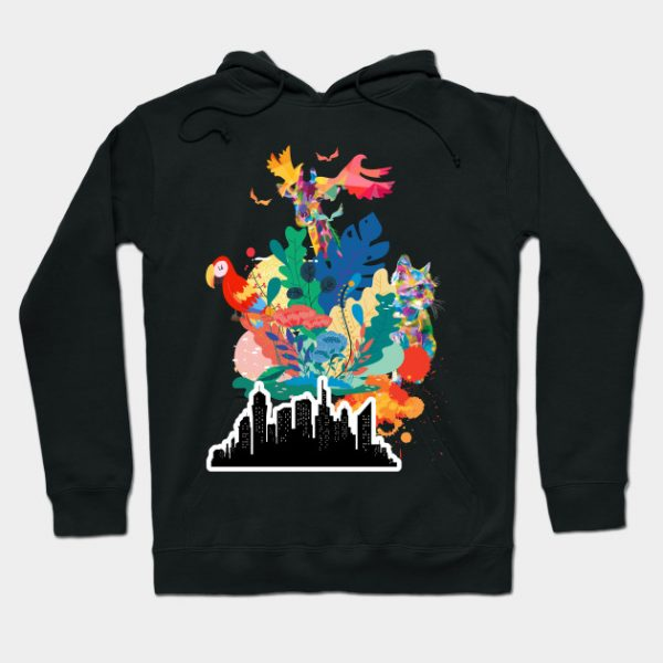 Cool black hoodie unique print style
