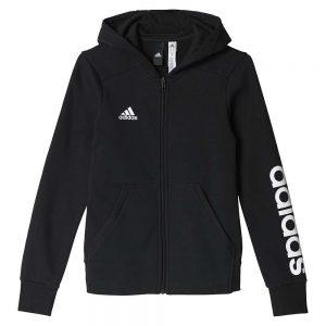Adidas Essentials Linear Full Zip Black Hoodie (front)