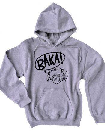 Girl Shouting Baka! Printed Pullover Grey Anime Hoodie(Front)