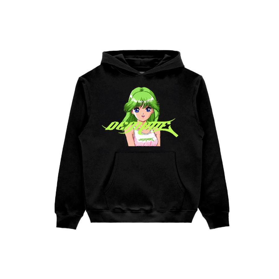 Green Hair Girl Printed Black Anime Hoodie (front)