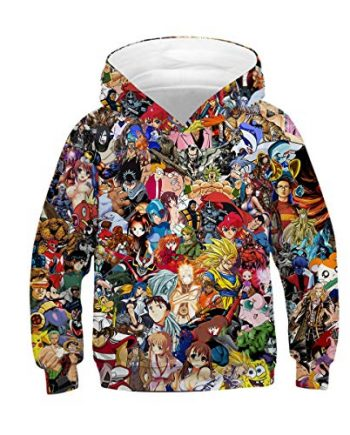 Azuki All Over Printed Anime Pullover Cotton Hoodie(Front)