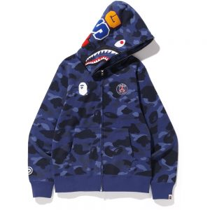 BAPE x PSG Shark Full Zip Hoodie Navy