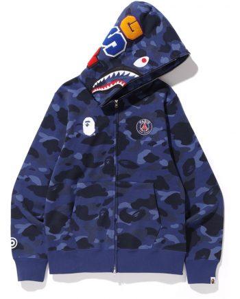 BAPE x PSG Shark Full Zip Camo Blue Hoodie (front)