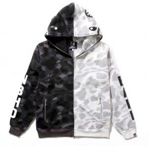 Bape x NBHD camo shark hoodie