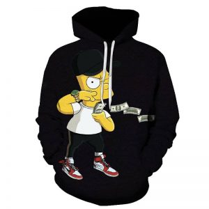 Cool Bart Simpson Black Hoodie For Men(front)