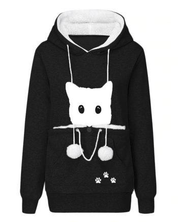 Cat Lovers Causal Black Hoodie