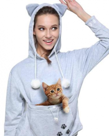New Cat Pouch Grey Hoodie