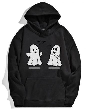 Cute Little Ghost Black Hoodie