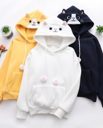 Cute kawaii students cat ear white and yellow and black hoodie