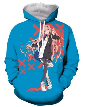 Darling In The Franxx 3D Printed Blue Hoodies(front)