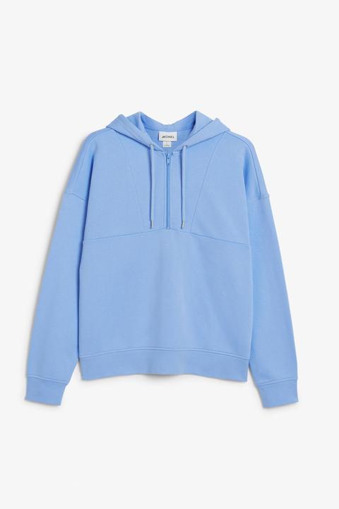 Men's Cobalt Blue Midweight Hooded Zip Front Sweatshirt(front)