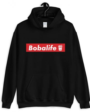 Boba Life Sophisticated black Hoodie(front)