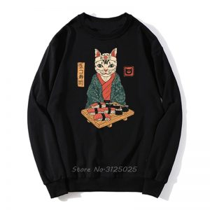 Funny Cute Japan Sushi Cat Graphic Print Hoodie