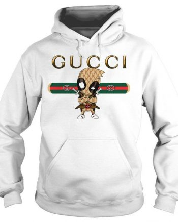 Official Gucci Dead Pool Logo Style White Hoodie(front)