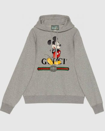 Gucci x Disney Mickey Mouse Logo Grey Hoodie(front)