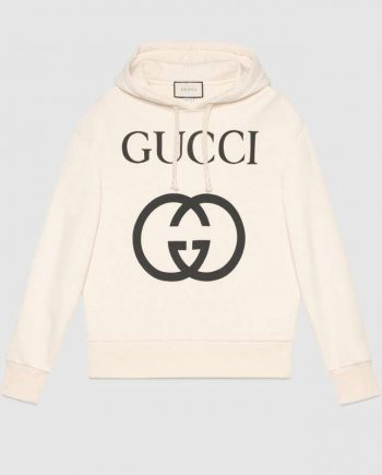 Gucci Off-White Felted Cotton Hoodie(front)