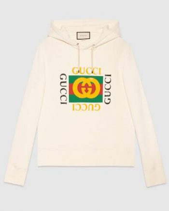 White Cotton Oversize Hoodie with Gucci logo