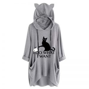 I D0 WH4T I W4NT Oversize gray Hoodie With Cat Ear