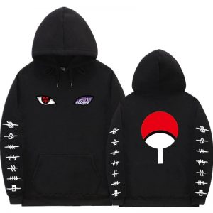Japanese Eyes Graphic Men Black Hoodies