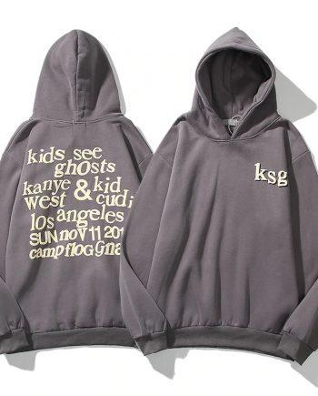 Kanye West Kids See Ghosts Letter Printed Grey Hoodie