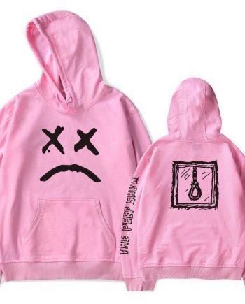 Lil Peep Printed Sad Face Pink Hoodie(pink)