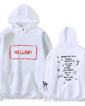 Lil Peep HELLBOY Fleece White Hoodie(White)